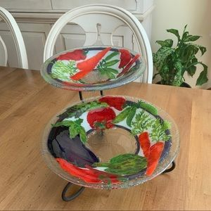 Glass Serving Bowls in two tiered metal stand
